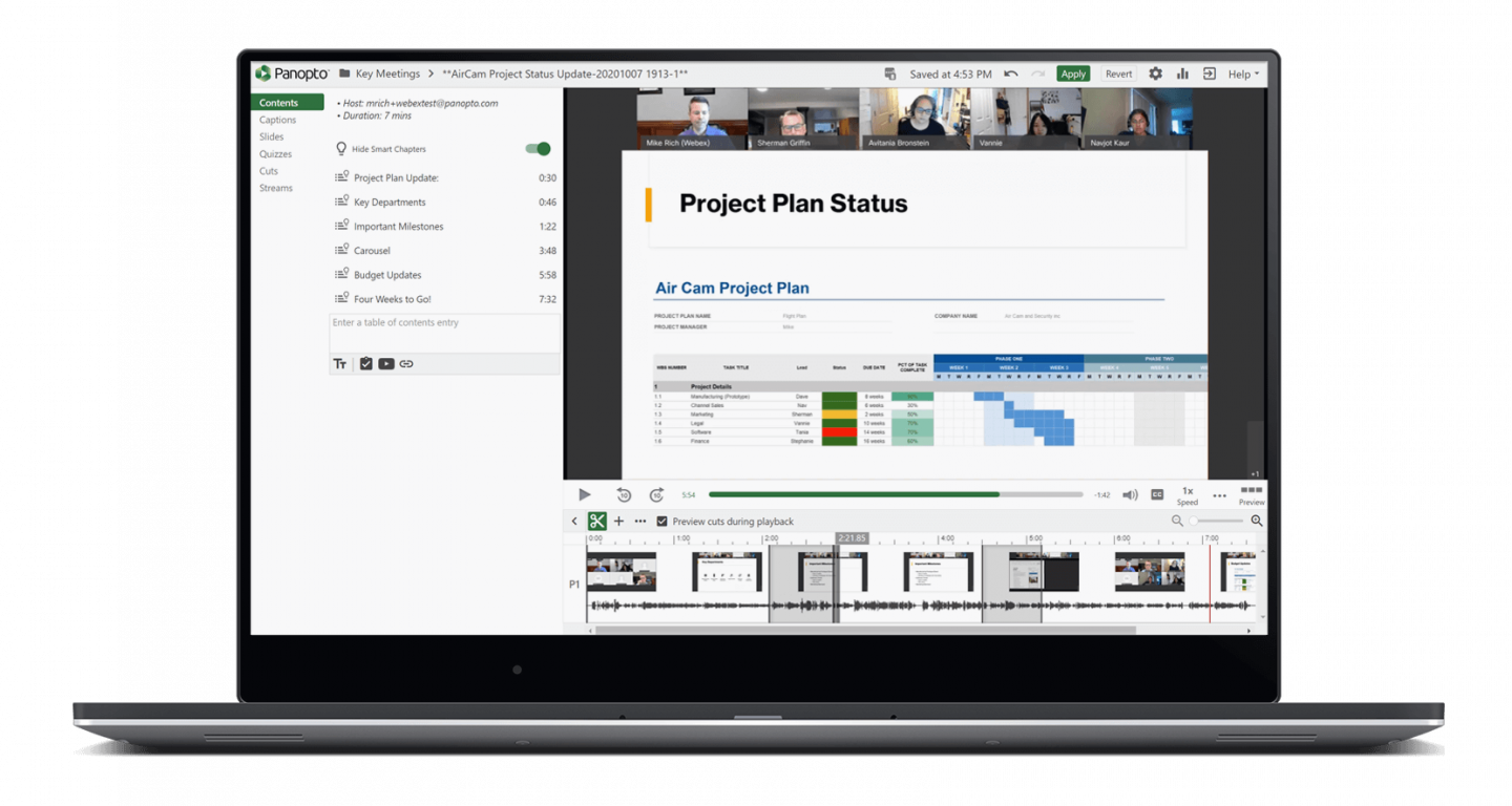Panopto includes advanced video editing tools for creating reusable information assets from meeting recordings.