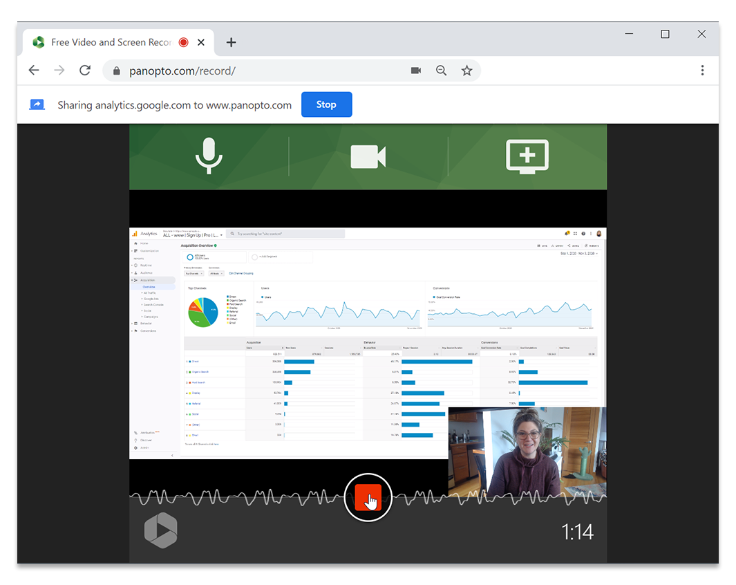 Record yourself giving a presentation with Panopto's free video and screen recorder