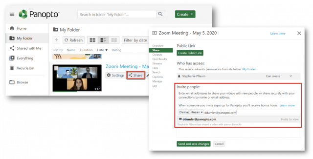 Easily share a recording of your practice presentation to get additional feedback