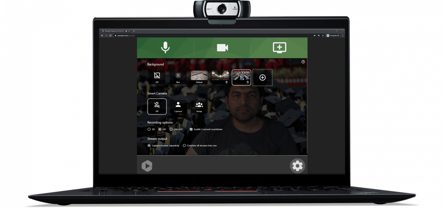 Customized virtual backgrounds for polished video recording that reflects your brand