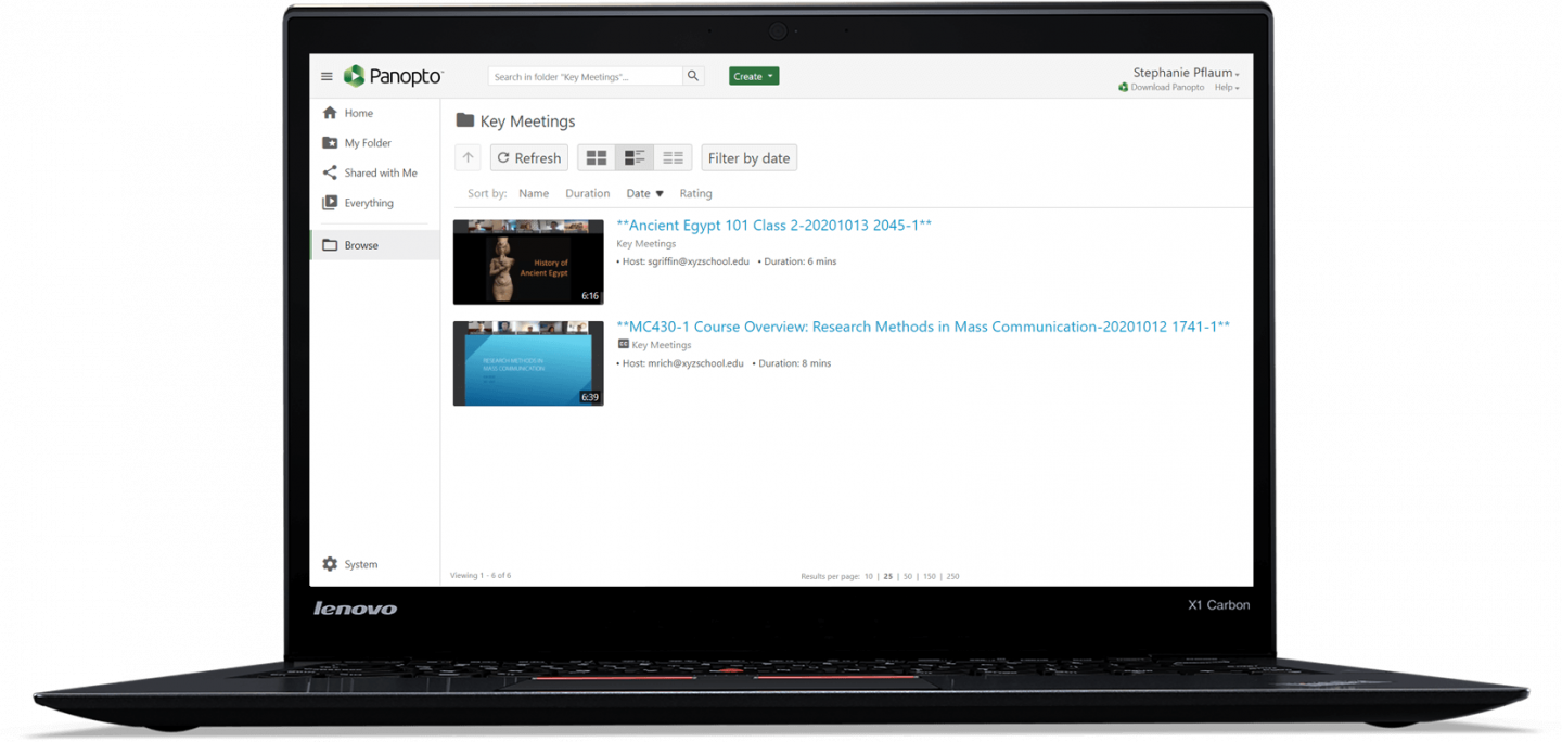 Secure and manage live video class session recordings in Panopto.
